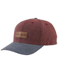 Cinch Men's Color Blocked Leather Patch Flex Fit Cap , Purple, hi-res