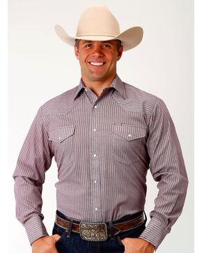 Roper Men's Wine Stripe Long Sleeve Western Snap Shirt, Wine, hi-res