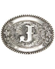 Cody James Men's Initial J Belt Buckle, Silver, hi-res