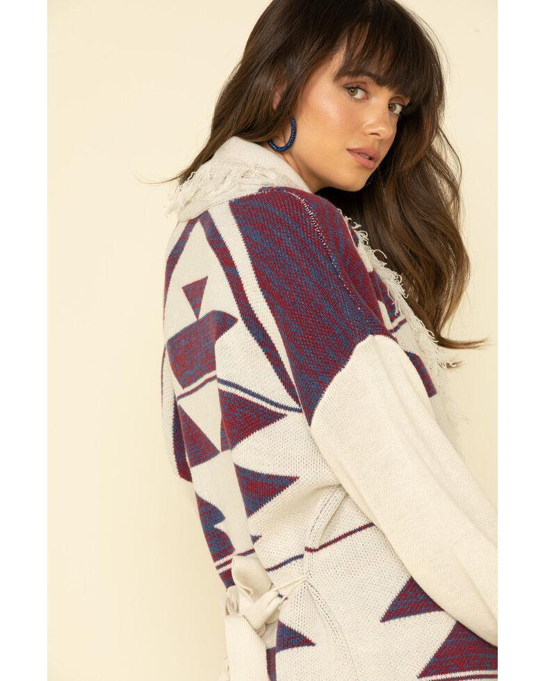 Wrangler Retro Women's Ivory & Purple Aztec Fringe Sweater Cardigan, Ivory, hi-res
