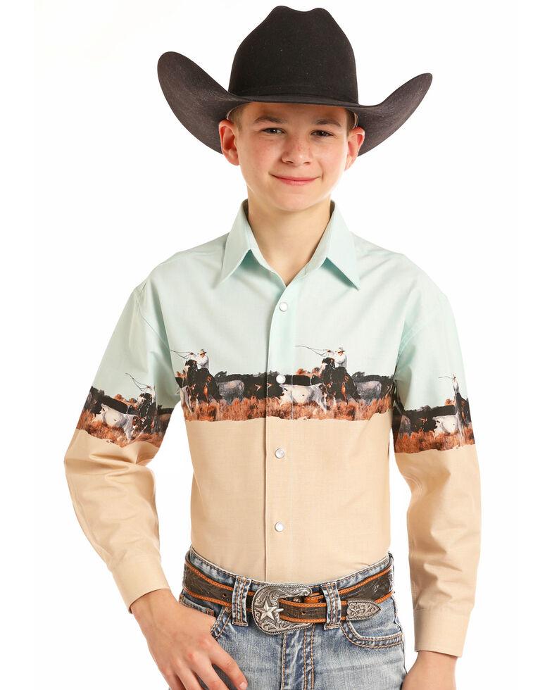 Panhandle Boys' Scenic Border Print Snap Long Sleeve Western Shirt , Multi, hi-res