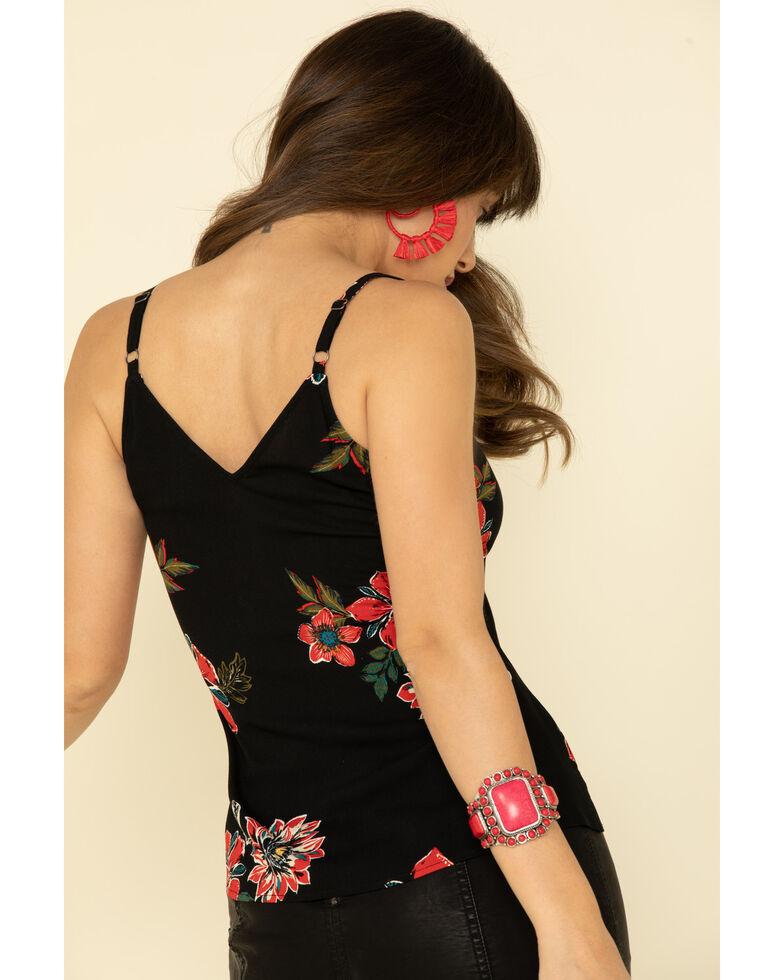 Shyanne Women's Black Floral Button Tie Tank Top, Black, hi-res