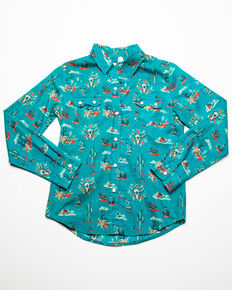 Roper Girls' Blue Cactus Print Snap Long Sleeve Western Shirt, Blue, hi-res