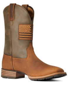 Ariat Men's Casper Brown & Cave Tan Hybrid Patriot Country Performance Western Boot - Wide Square Toe , Brown, hi-res