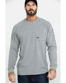 Ariat Men's Grey Rebar Cotton Strong Graphic Long Sleeve Work Shirt - Big & Tall , Heather Grey, hi-res