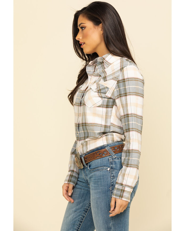 Shyanne Life Women's Olive Plaid Core Riding Long Sleeve Shirt  , Olive, hi-res