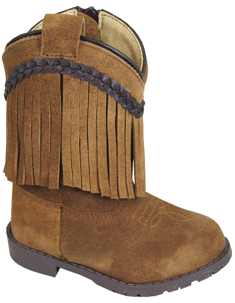 Smoky Mountain Toddler Girls' Hopalong Fringe Western Boots - Round Toe, Brown, hi-res