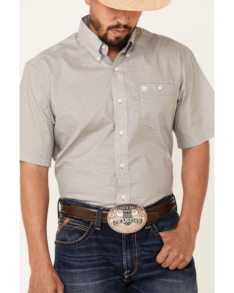 Wrangler Men's Classic Grey Small Geo Print Short Sleeve Button-Down Western Shirt , Grey, hi-res