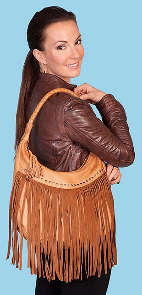 Scully Fringe Hobo Bag, Tan, hi-res
