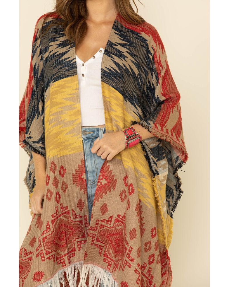 San Diego Hat Co. Women's Woven Stripe Poncho, Multi, hi-res
