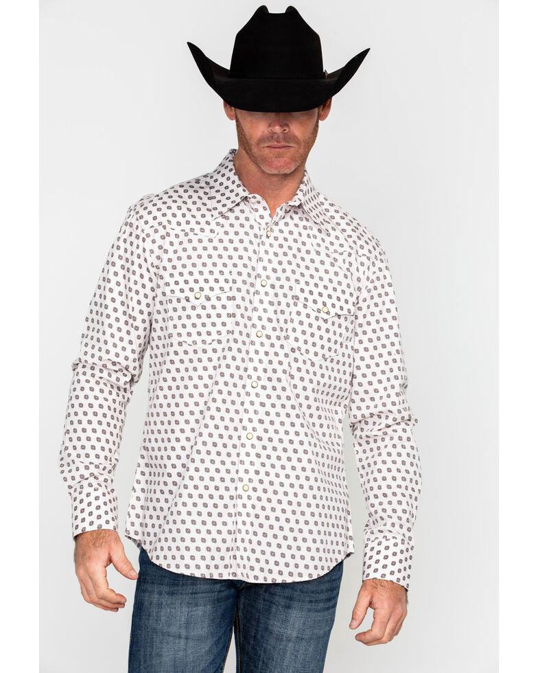 Rock & Roll Cowboy Men's Crinkle Washed Poplin Print Long Sleeve Western Shirt , Cream, hi-res