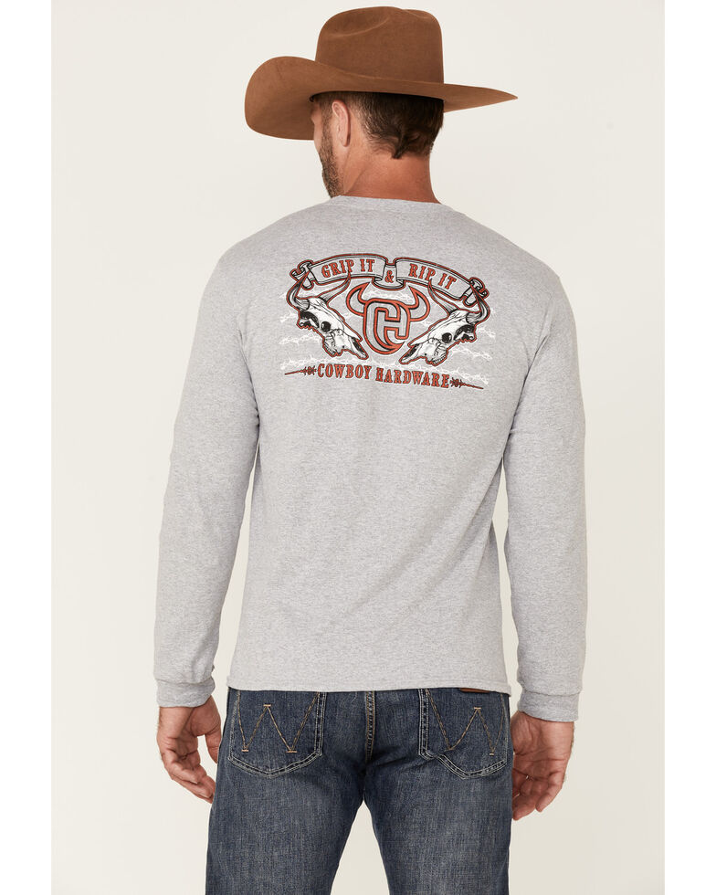 Cowboy Hardware Men's Grip It & Rip It Graphic Long Sleeve T-Shirt , Grey, hi-res