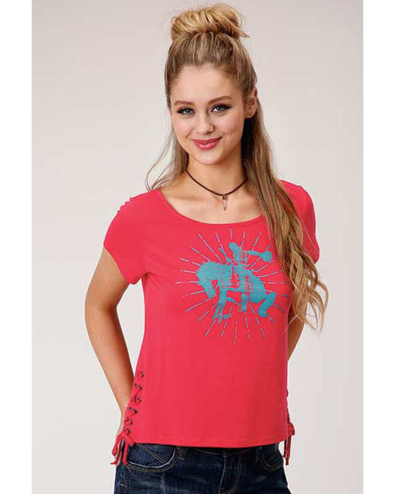 Roper Women's Red Bronco Graphic Lace-Up Tee, Red, hi-res