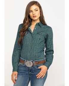Amarillo Women's Green Meadow Paisley Long Sleeve Western Shirt, Green, hi-res