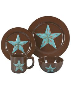 HiEnd Accents Star Dinnerware Set, Brown, hi-res