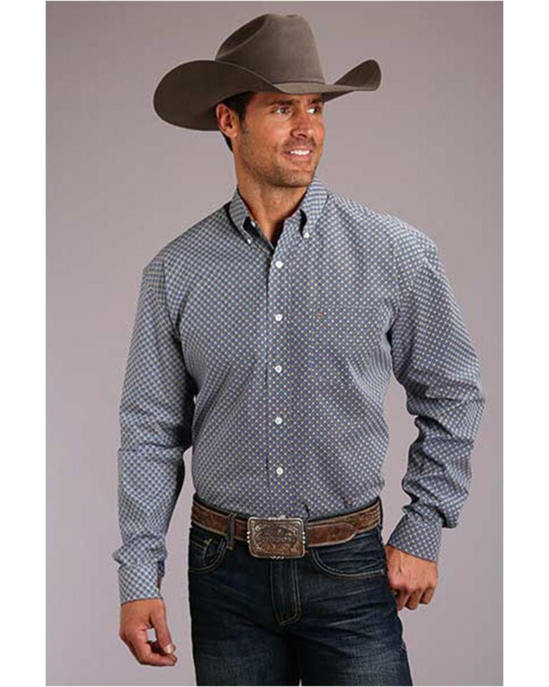 Stetson Men's Indigo Geo Print Long Sleeve Button-Down Western Shirt , Blue, hi-res