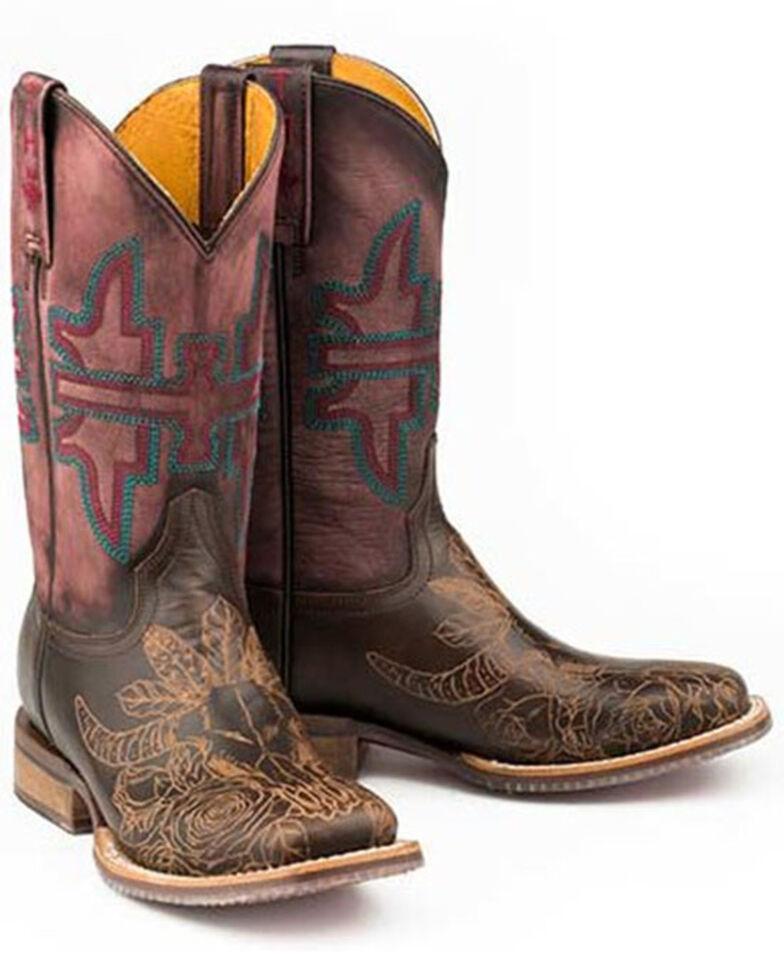 Tin Haul Women's Bullheaded Western Boots - Wide Square Toe, Brown, hi-res
