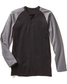 Rasco Men's Black FR Preshrunk Henley T-Shirt , Black, hi-res