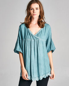 dc807b84c07bc6 Hyku Women's Blue Color Washed Top