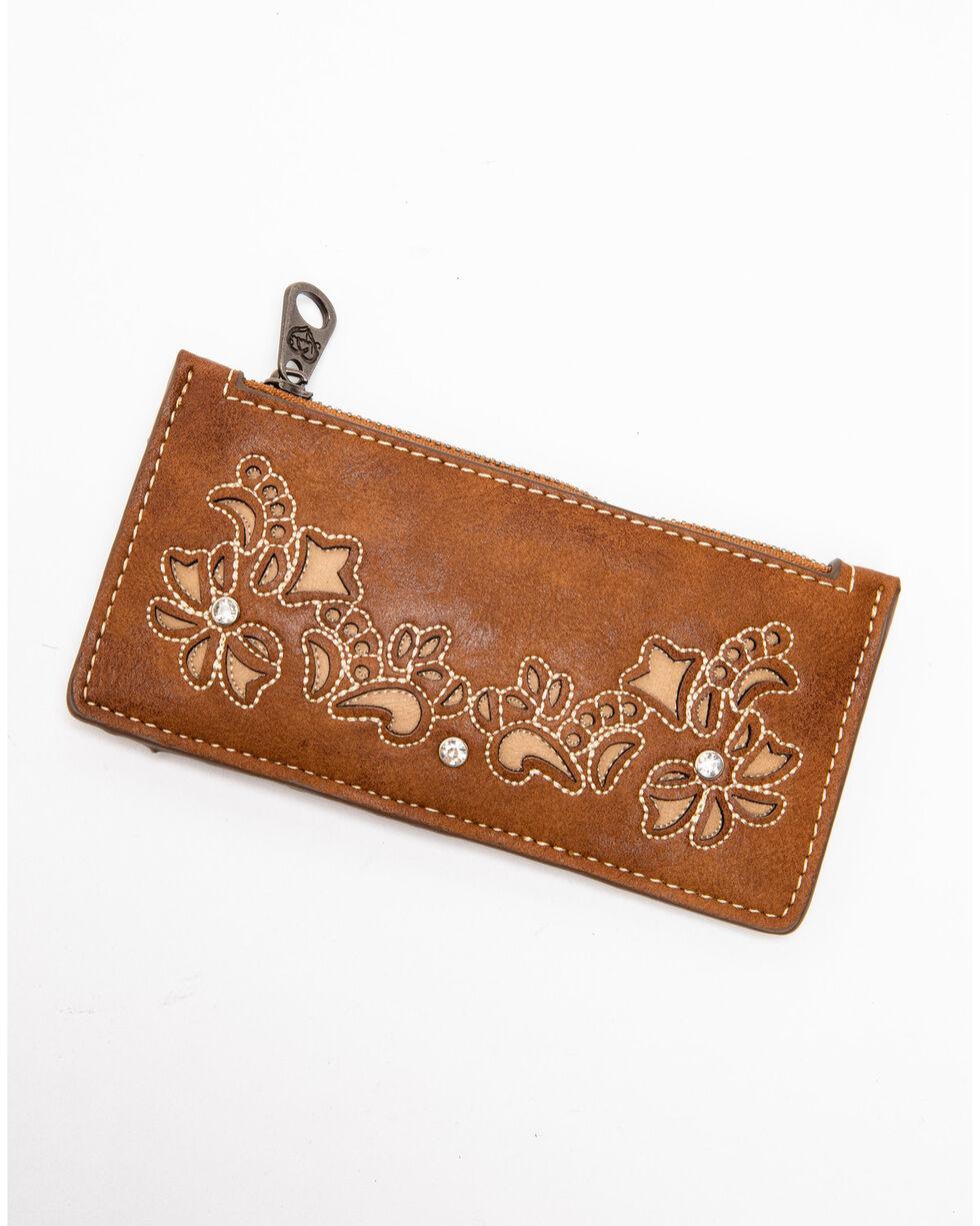 Shyanne Women's Floral Embroidered Slim Wallet, Cognac, hi-res