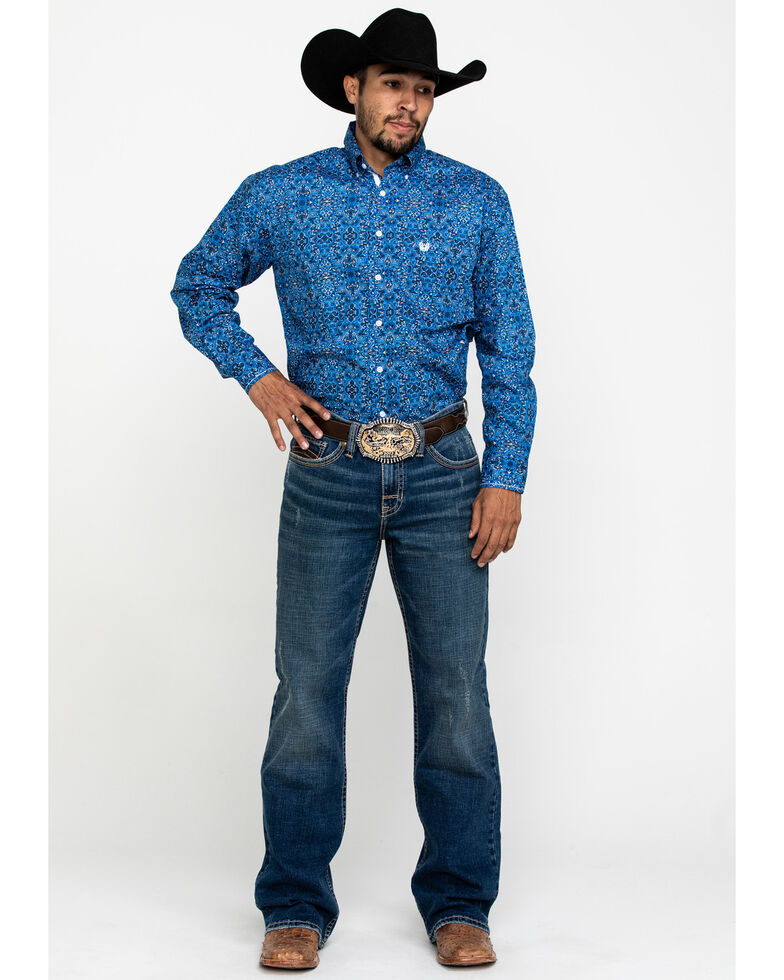 Rough Stock By Panhandle Men's Cayuga Vintage Print Long Sleeve Western Shirt , Blue, hi-res