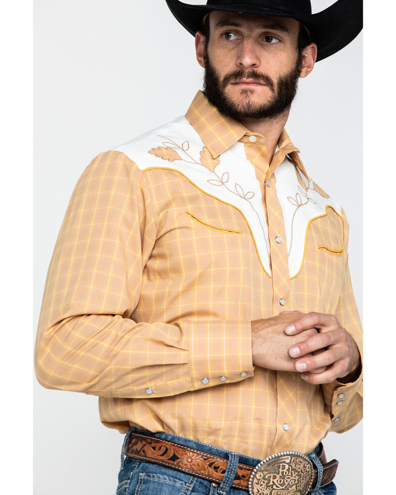 Roper Men's Fancy Applique Embroidered Butterscotch Plaid Long Sleeve Western Shirt , Brown, hi-res