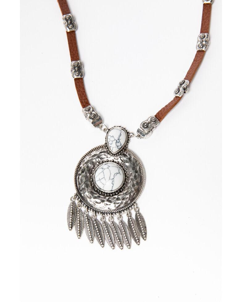 Shyanne Women's Blue Falls Circle Concho Fringe Necklace, Silver, hi-res