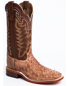 Tony Lama San Saba Vintage Full Quill Ostrich Cowboy Boots - Square Toe, Chocolate, hi-res