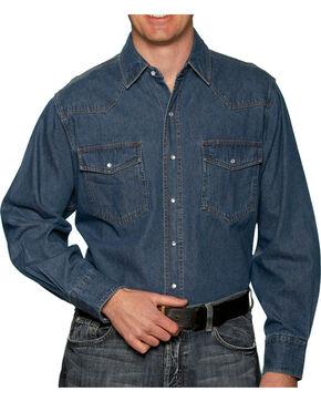 Ely Cattleman Mens Stonewashed Denim Shirt - Big & Tall, Navy, hi-res