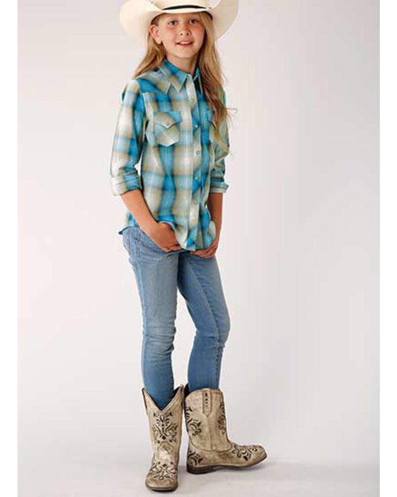 West Made Girls' Blue Plaid Snap Long Sleeve Western Shirt, Blue, hi-res