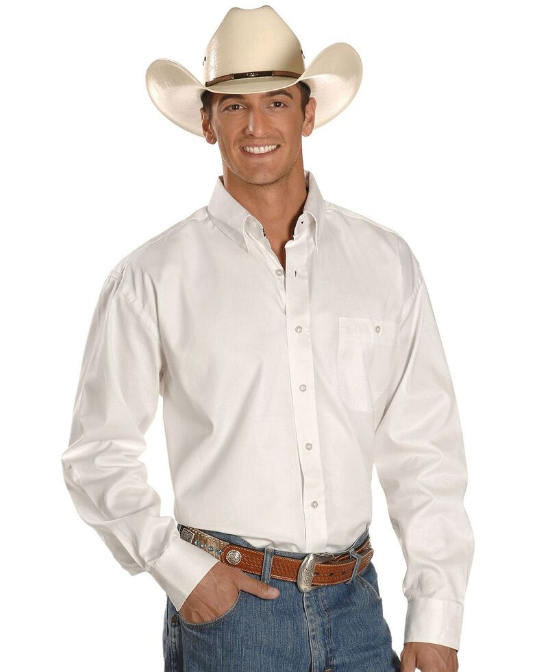 George Strait by Wrangler Men's Black Solid Long Sleeve Western Shirt, White, hi-res