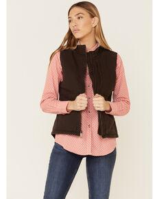 Carhartt Women's Dark Brown Washed Duck Sherpa Lined Vest , Brown, hi-res