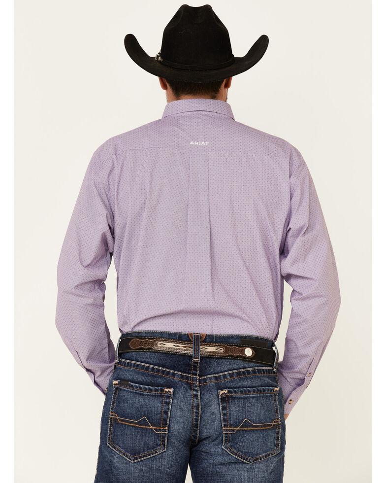 Ariat Men's Hugh Dobby Geo Print Long Sleeve Western Shirt - Big , Purple, hi-res