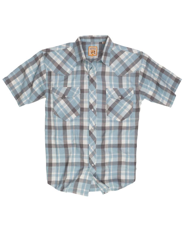 Resistol Men's Light Blue Oxford Ranch Large Plaid Short Sleeve Western Shirt , Light Blue, hi-res