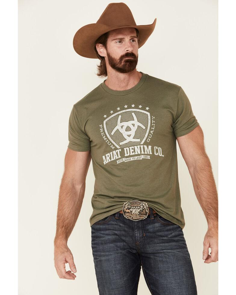 Ariat Men's Military Green Shield Logo Graphic T-Shirt , Green, hi-res