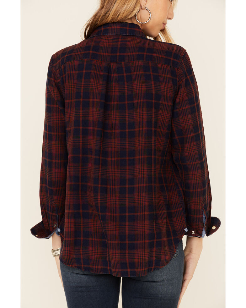 Flag & Anthem Women's Belspring Plaid Long Sleeve Snap Western Core Shirt , Burgundy, hi-res