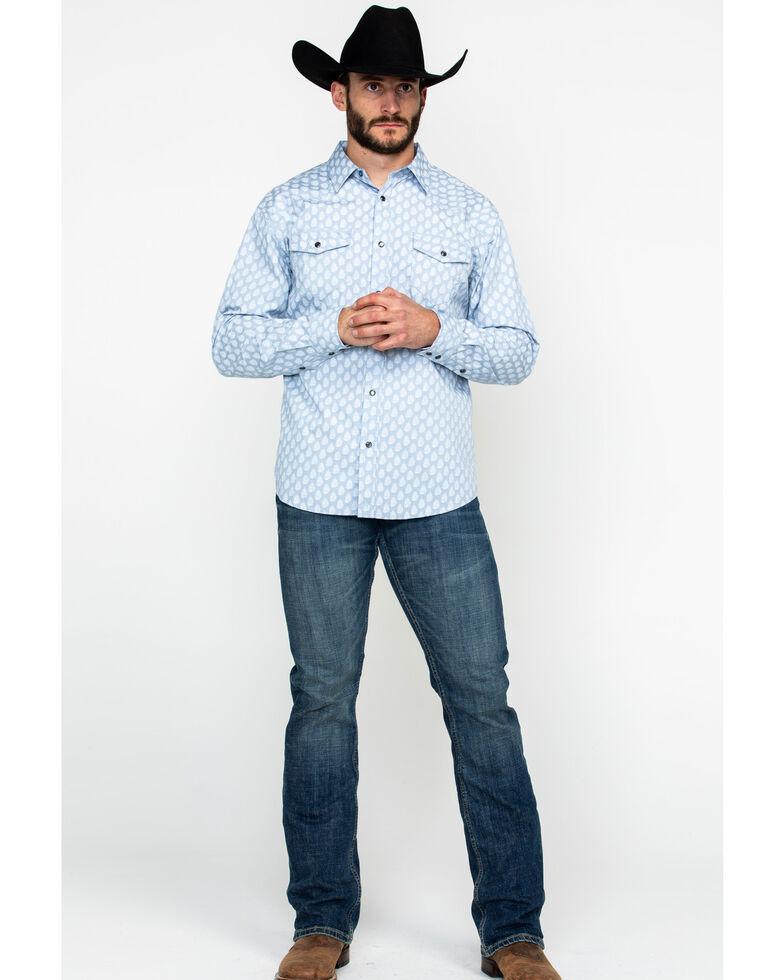 Moonshine Spirit Men's Excalibur Paisley Print Long Sleeve Western Shirt , Light Blue, hi-res