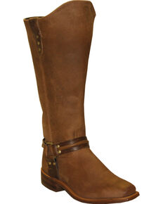 Abilene Women's Brown Equestrian Wellington Boots - Square Toe  , Tan, hi-res