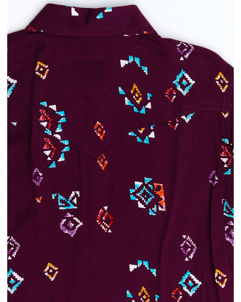 Wrangler Girls' Burgundy Aztec Print Long Sleeve Western Shirt , Burgundy, hi-res