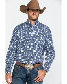 George Strait By Wrangler Navy Geo Print Long Sleeve Western Shirt , Navy, hi-res