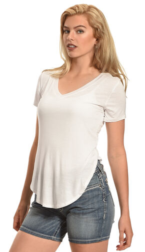 Derek Heart Women's Deep V-Neck Oversize Tee, White, hi-res