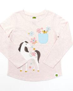 John Deere Toddler Girls' Pink Horse Graphic Long Sleeve Tee, Pink, hi-res