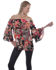 Honey Creek by Scully Women's Black Floral Peasant Blouse, Black, hi-res