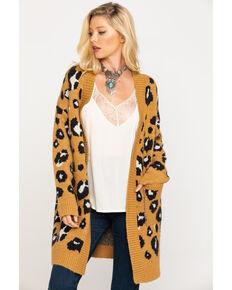 Miss Me Women's Ginger Brown Leopard Cardigan, Brown, hi-res