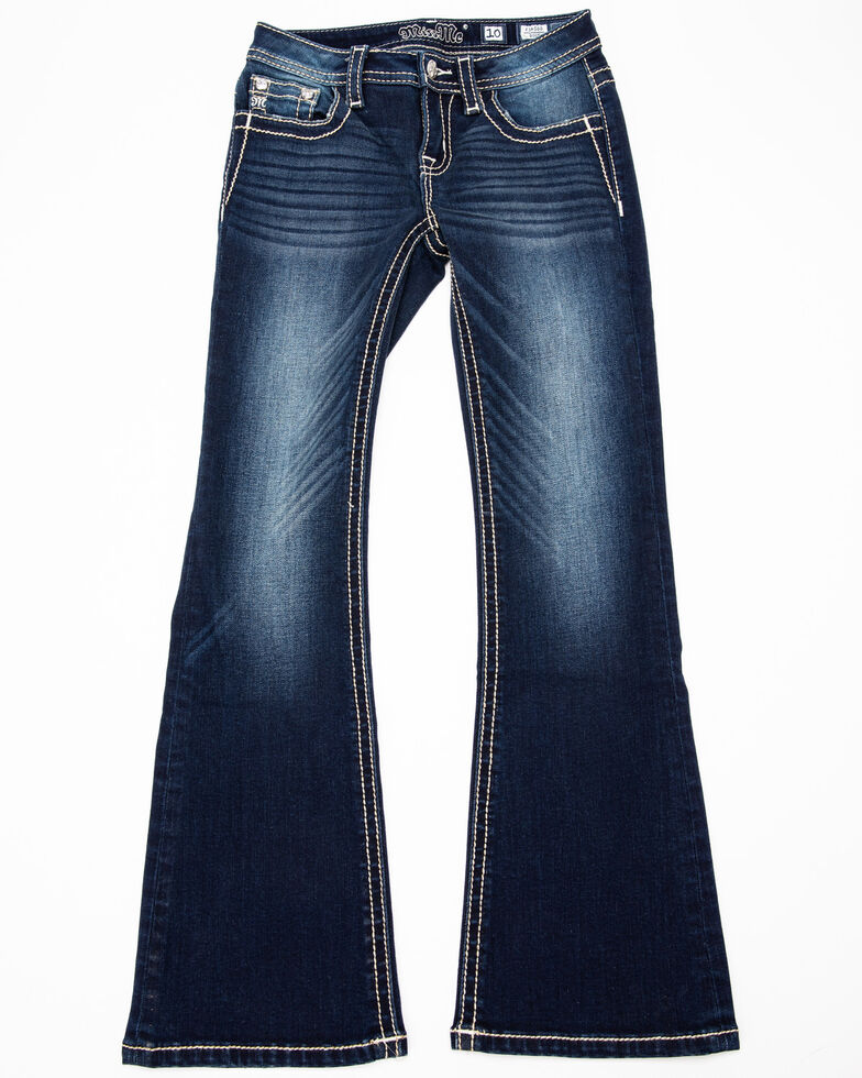 Miss Me Girls' Dreamcatcher Bootcut Jeans, Blue, hi-res