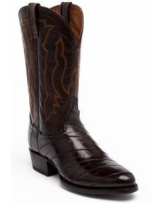 Dan Post Men's Chocolate Eel Western Boots - Round Toe, Chocolate, hi-res