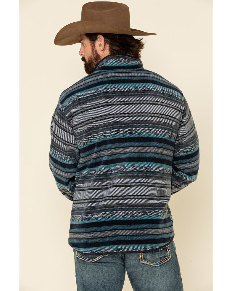 Cinch Men's Multi Dark Aztec Striped Polar Fleece Pullover Sweatshirt , Multi, hi-res