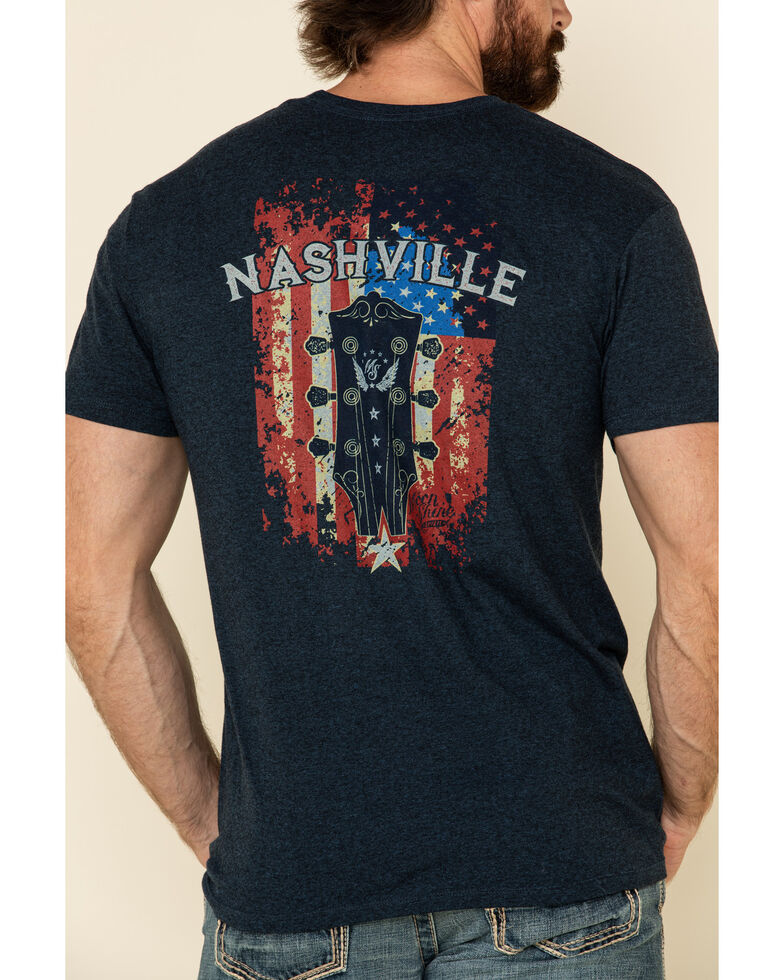 Moonshine Spirit Men's Shine Guitar Flag Graphic Short Sleeve T-Shirt , Blue, hi-res