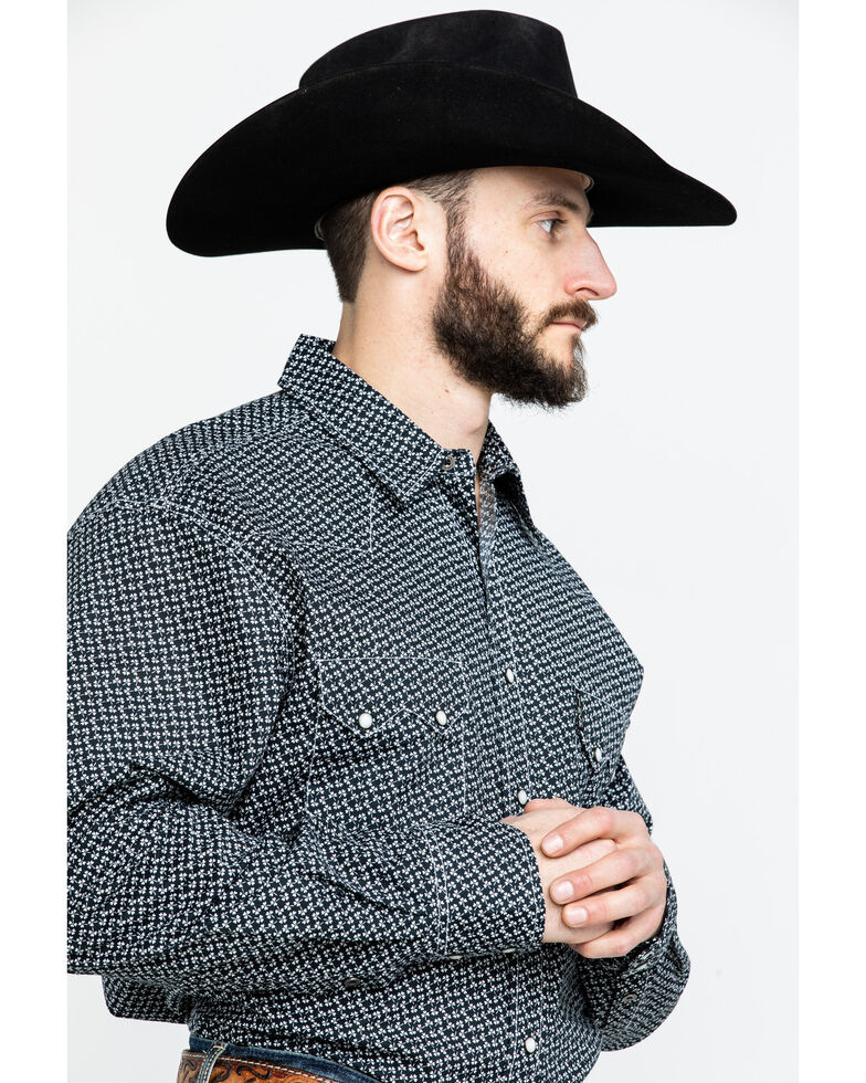 Cinch Men's Navy Modern Clover Geo Print Long Sleeve Western Shirt , Navy, hi-res
