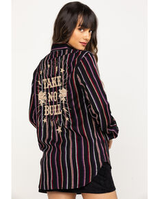 Rock & Roll Denim Women's Stripe Take No Bull  Embroidered Long Sleeve Shirt, Multi, hi-res